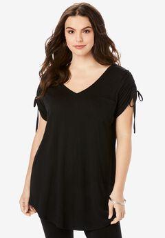 Ruched-Sleeve Ultra Femme Tunic, BLACK