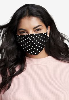 2-Layer Reusable Cotton Face Mask - Women's, BLACK POLKA DOT