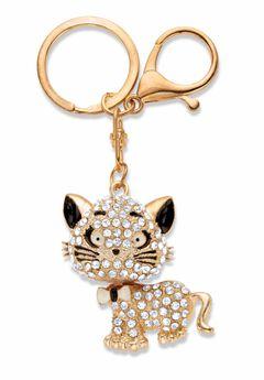 Goldtone Round Crystal Cat Key Ring,