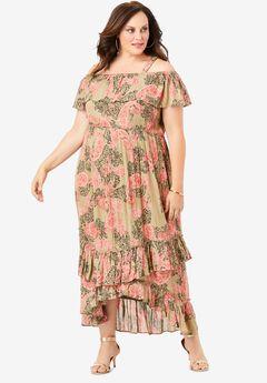 Smocked Crinkle Dress,