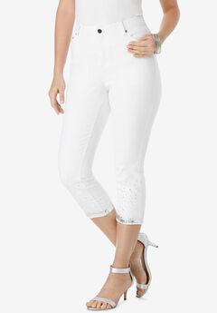 Sequin Trim Straight-Leg Capri Jean ,