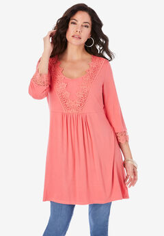 Lace-Applique Fit-and-Flare Ultra Femme Top,