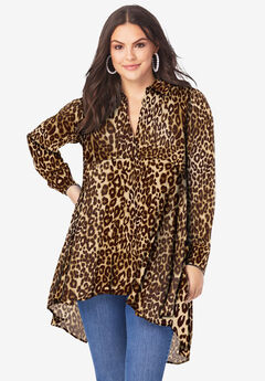 Fit-and-Flare Crinkle Tunic, BROWN CLASSIC ANIMAL