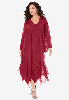 Sequin Jacket Dress Set, CLASSIC RED