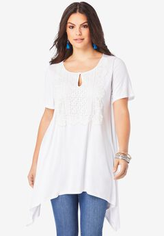 Lace-Front Top, WHITE