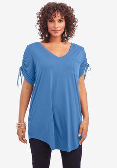 Ruched-Sleeve Ultra Femme Tunic, HORIZON BLUE