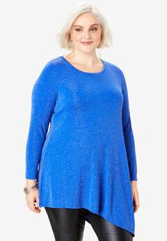 Glittery Asymmetric Tunic, ULTRA BLUE METALLIC