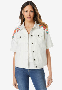 Short-Sleeve Embroidered Denim Jacket,