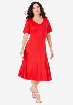 Ultimate Ponte Seamed Flare Dress,