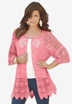 Scallop-Trim Crochet Cardigan,