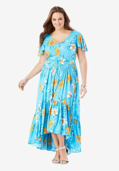 Button-Front Maxi Dress with High-Low Hem,
