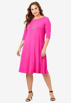 Ultra Smooth Boatneck Swing Dress,