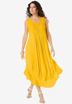 Crochet & Lace Crinkle Dress,