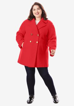 Modern A-Line Peacoat, VIVID RED