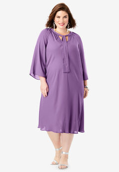 Bell-Sleeve Dress, PLUM GRAPE