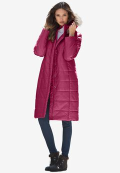 Mid-Length Puffer Jacket with Hood,