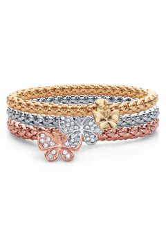 Rose Gold-Plated Butterfly Charm Stretch Bracelet Set,