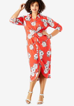Stretch Knot-Front Shirtdress with Button Front,