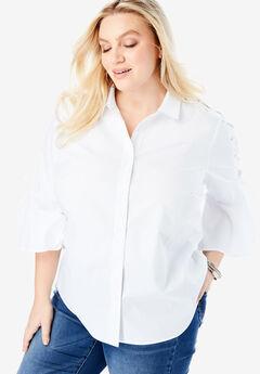 Lace-Up-Sleeve Big Shirt,