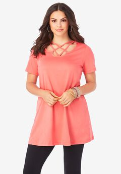 Lattice-Neck Short Sleeve Ultimate Tunic,