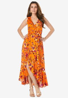 Sleeveless Wrap Maxi Dress,