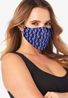 Women's Two-Layer Reusable Face Mask, NAVY VINES