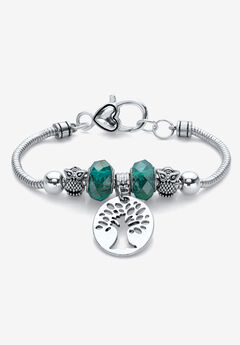 """Silvertone Antiqued Bali Style Tree of Life and Owl Charm Bracelet 7.5"""","""