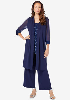 Three-Piece Lace & Sequin Duster Pant Set,