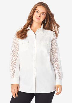Lace-Sleeve Denim Big Shirt,