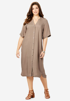 Y-Neck Shirtdress,