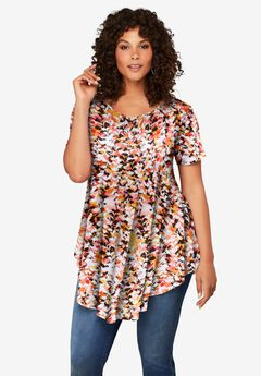 Swing Ultra Femme Tunic, WARM ABSTRACT LEAVES
