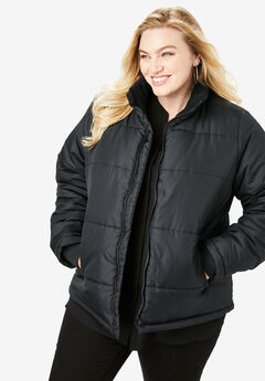 Roamans Womens Plus Size High Collar Puffer Coat