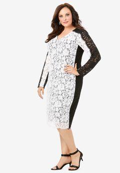 Colorblock Lace Dress, WHITE