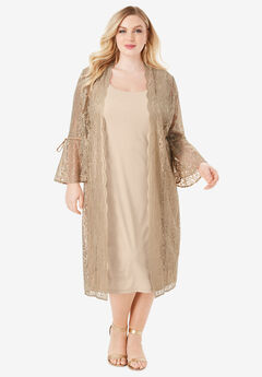 Lace Duster Jacket Dress Set,