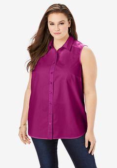 Sleeveless Kate Big Shirt, RASPBERRY