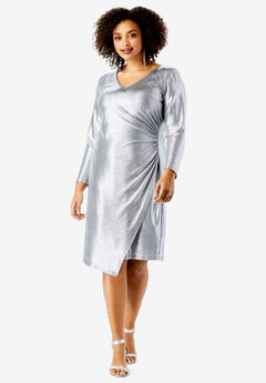 Metallic V-Neck Dress with Side Ruching ,
