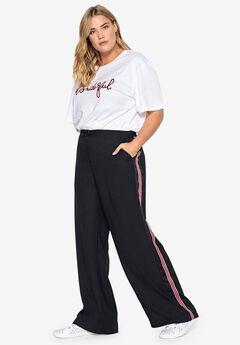 Side-Stripe Wide Leg Pants Castaluna , BLACK