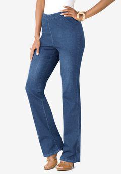 Bootcut Pull-On Stretch Jean by Denim 24/7®, LIGHT STONEWASH SANDED