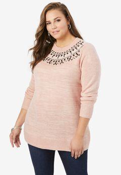 Beaded Mockneck Sweater, SOFT BLUSH FAIR ISLE