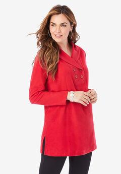 Double Button Sherpa Fleece Tunic,