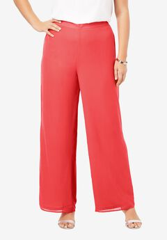 Georgette Wide-Leg Dress Pant,
