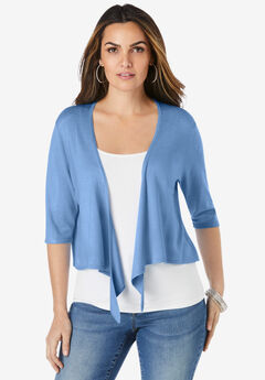 Fine Gauge Tie-Front Shrug Sweater,