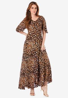 Flutter-Sleeve Crinkle Dress,