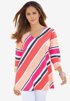 Diagonal Stripe V-Neck Tee,