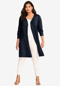 Fine Gauge Convertible Tie-Front Cardigan, NAVY
