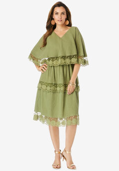 Tiered-Lace Gauze Dress,