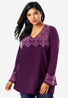 Fit-And-Flare Tunic Sweater, BERRY CHERRY FAIR ISLE