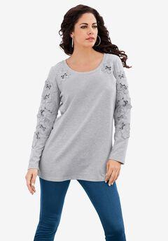 Flower Appliqué Sweatshirt, HEATHER GREY