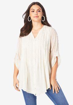 Glam-Embellished Big Shirt, IVORY MINI ANIMAL