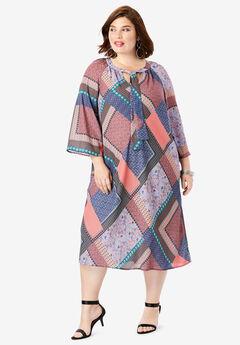 Bell-Sleeve Dress, MULTI PATCHWORK
